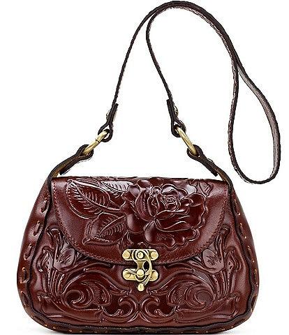 Patricia Nash Rose Tooling Collection Micaela Floral Leather Shoulder Bag