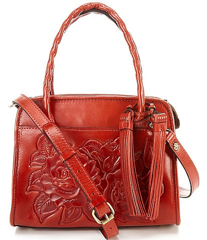 Patricia Nash Rose Tooling Collection Paris Small Leather Floral Satchel Bag