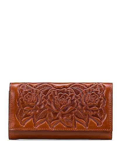 Patricia Nash Rose Tooling Collection Terresa Leather Floral Tri-Fold Wallet