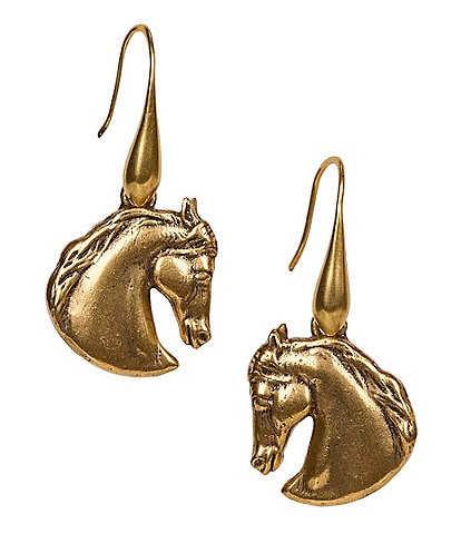 Patricia Nash Stallion Head Drop Earrings
