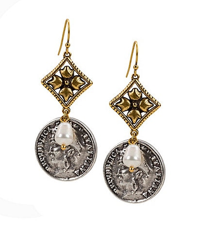 Patricia Nash The Double Caged Coin Earrings