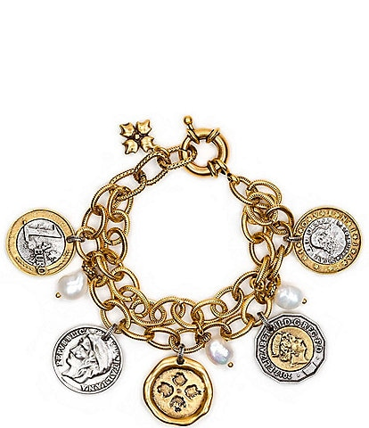Patricia Nash The World Coin Double Charm Bracelet