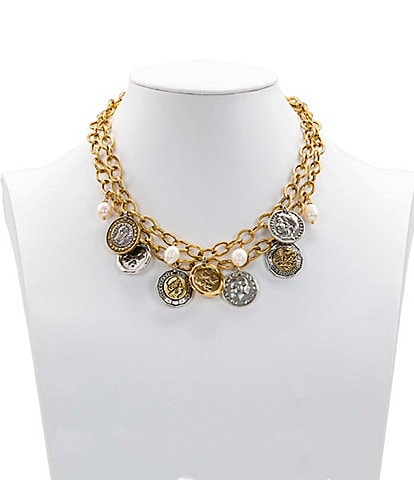Patricia Nash The World Coin Double Charm Statement Necklace