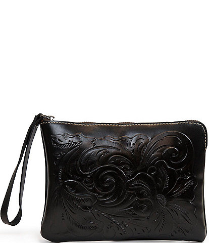 Patricia Nash Rose Tooling Collection Cassini Floral-Embossed Leather Wristlet Clutch