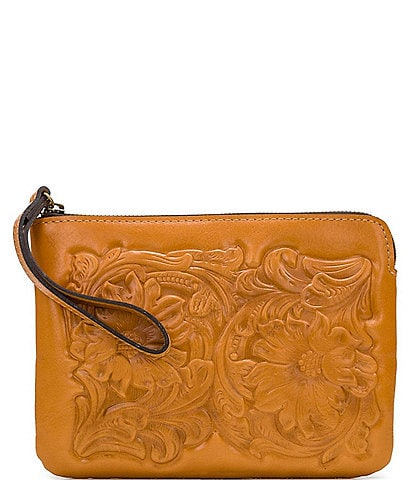 Patricia Nash Rose Tooling Collection Leather Cassini Wristlet