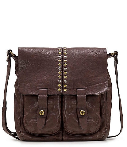 Patricia Nash Vintage Washed Collection Leather Studded Armeno Crossbody Bag