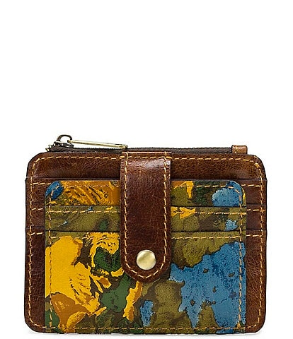 Patricia Nash Wildflower Collection Cassis Floral Printed Leather Card Case