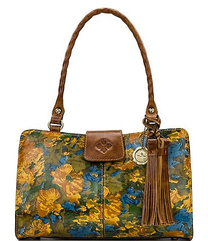 Patricia Nash Wildflower Collection Rienzo Floral Printed Leather Satchel Bag