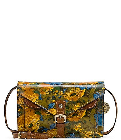 Patricia Nash Wildlfower Collection Cassano Floral Printed Leather Crossbody Bag