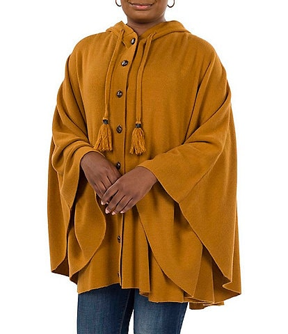 Patricia Nash Women's Hooded and Buttoned Front Cape