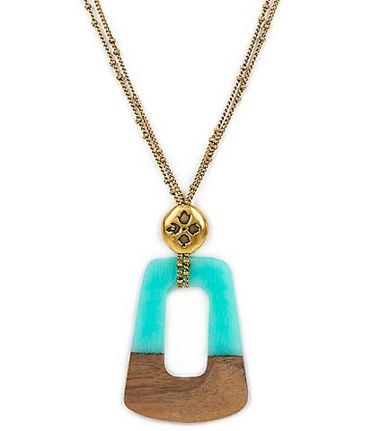 Patricia Nash Wood Resin Open Pendant Necklace