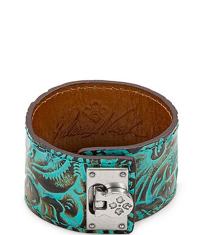 Patricia Nash Wrap Leather Flip Lock Cuff Bracelet