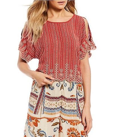 Patrons Of Peace Embroidered Scalloped Top