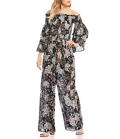 Patrons Of Peace Floral Smocked Off The Shoulder Jumpsuit