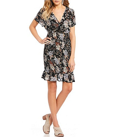 Patrons Of Peace V-Neck Floral Smocked Waist Dress