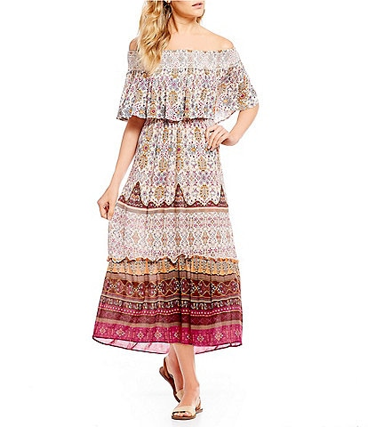 Patrons Of Peace Off The Shoulder Printed Popover Maxi Dress