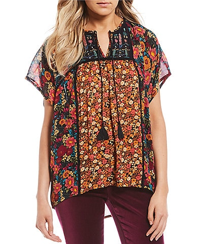 Patrons Of Peace Twin Print Peasant Top