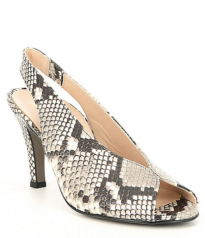 Paul Green Avanti Snake Print Leather Slingback Heel