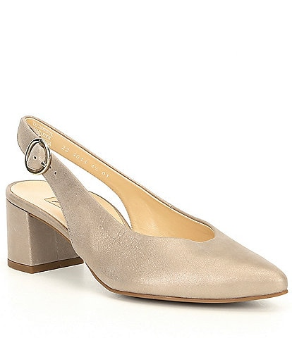 Paul Green Brittany Metallic Leather Block Heel Pump