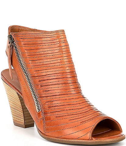 Paul Green Cayanne Leather Stacked Block Heel Shooties