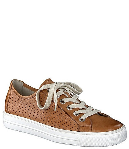 Paul Green Hope Zigzag Leather Lace-Up Sneakers