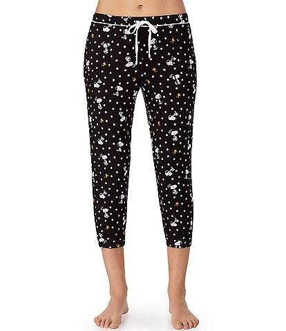 Peanuts Dot & Snoppy-Printed Cropped Knit Sleep Pants