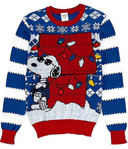 Peanuts Long-Sleeve Snoopy Cool Winter LED Lights Christmas Sweater
