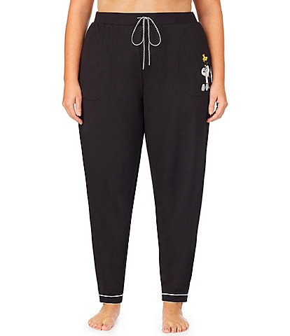 Peanuts Plus Snoopy & Woodstock-Appliqued Solid French Terry Jogger Sleep Pants