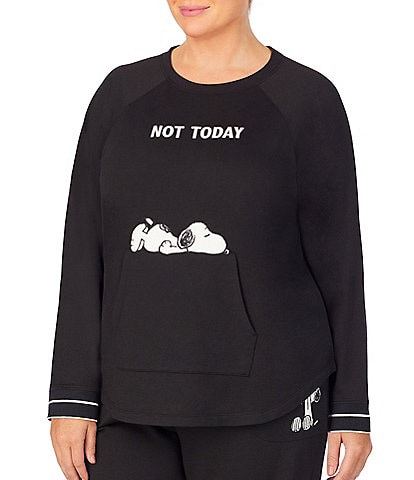 Peanuts Plus Snoopy-Appliqued #double;Not Today#double; French Terry Sleep Pullover