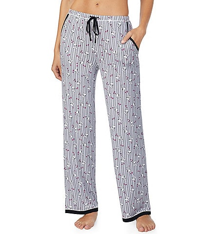 Peanuts Snoopy & Stripe Print Knit Sleep Pants