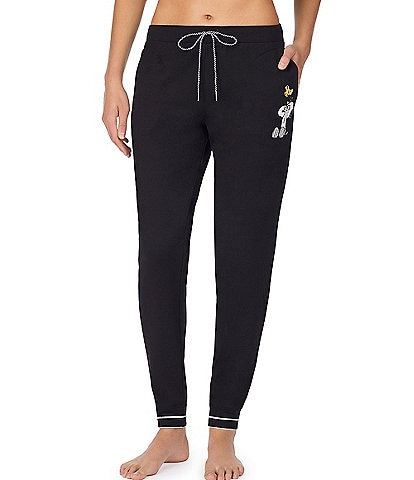 Peanuts Snoopy & Woostock-Appliqued Solid French Terry Jogger Sleep Pants