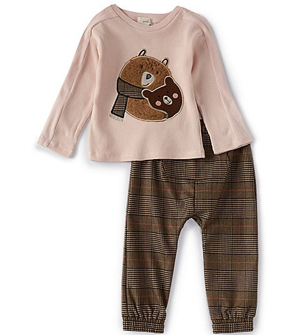 Peek Baby Boys 3-24 Months Long-Sleeve Bear Hug Tee & Plaid Pant Set