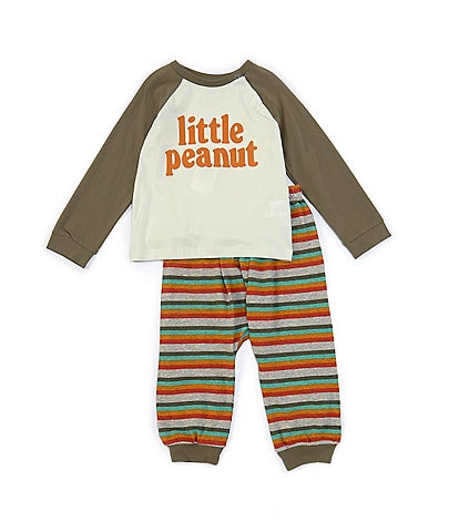 Peek Baby Boys 3-24 Months Long-Sleeve Little Peanut Raglan Tee & Striped Jogger Pant Set