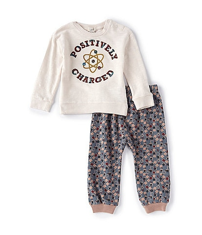 Peek Baby Boys 3-24 Months Long-Sleeve Positively Charged Top & Square Printed Jogger Set