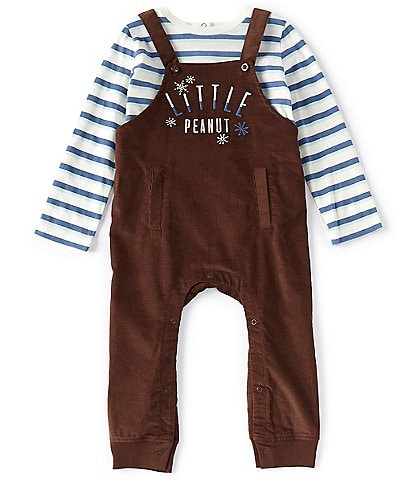 Peek Baby Boys 3-24 Months Long-Sleeve Stripe Tee & Little Peanut Overall Set