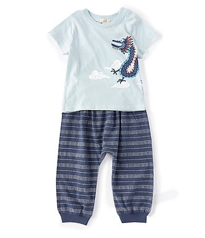 Peek Baby Boys 3-24 Months Short-Sleeve Andre Dragon Tee & Striped Pant Set