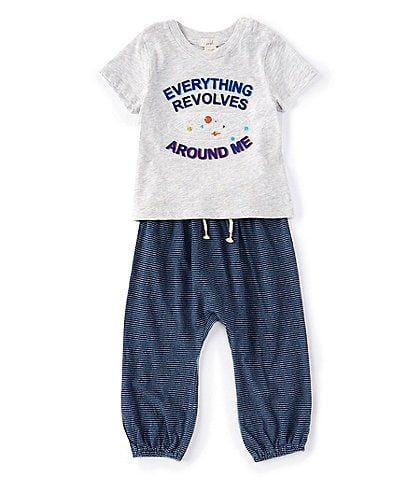 Peek Baby Boys 3-24 Months Short-Sleeve Around Me Tee & Jogger Pant Set
