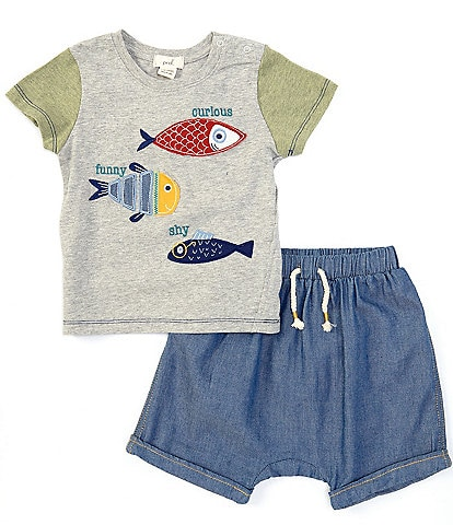 Peek Baby Boys 3-24 Months Short-Sleeve Curious, Funny And Shy Tee & Shorts Set