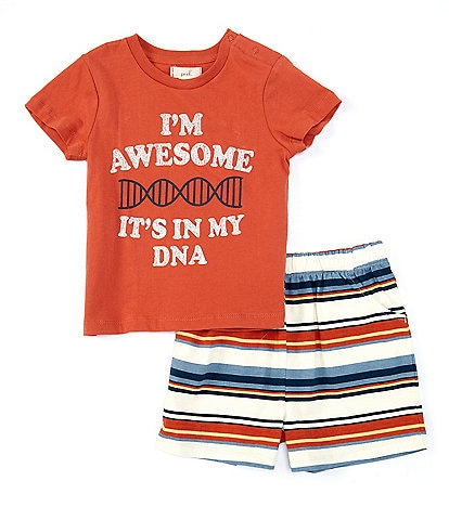 Peek Baby Boys 3-24 Months Short-Sleeve I'm Awesome Tee & Striped Shorts Set