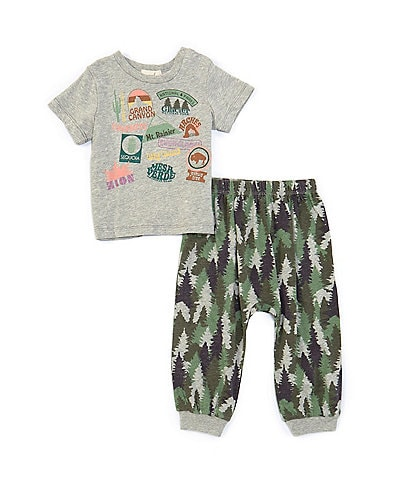 Peek Baby Boys 3-24 Months Short-Sleeve National Park Tee & Forest-Print Jogger Pant Set