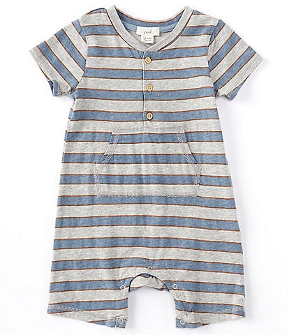 Peek Baby Boys 3-24 Months Short-Sleeve Striped Henley Shortall