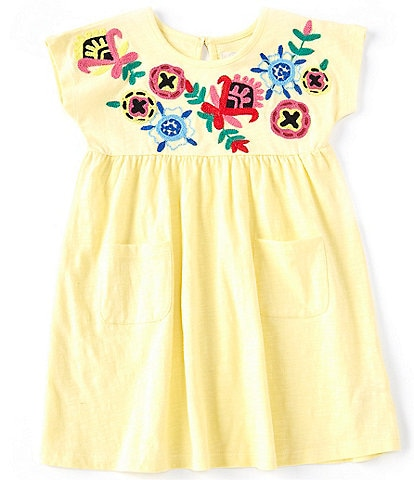 Peek Baby Girls 3-24 Months Floral-Embroidered-Yoke Fit-And-Flare Dress