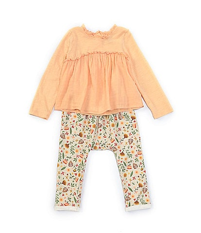 Peek Baby Girls 3-24 Months Knit/Woven Tee & Printed Pant Set