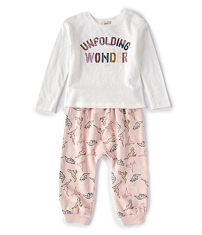 Peek Baby Girls 3-24 Months Long-Sleeve Dino Origami Tee & Printed Pant Set