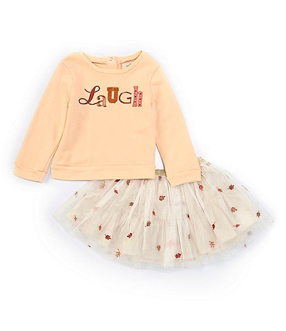 Peek Baby Girls 3-24 Months Long-Sleeve Laugh Tee & Leaf-Embroidered Tutu Skirt Set