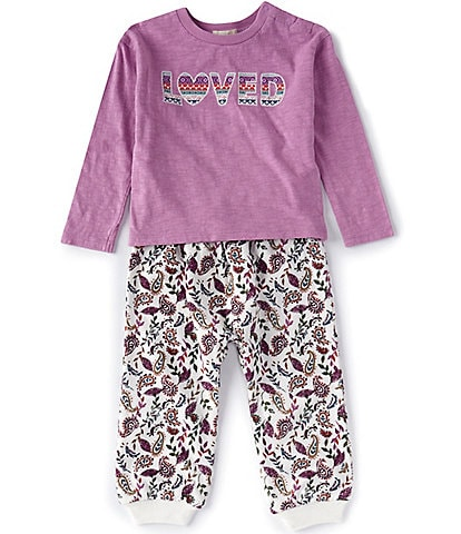 Peek Baby Girls 3-24 Months Long-Sleeve Loved Tee & Paisley Floral Pant Set