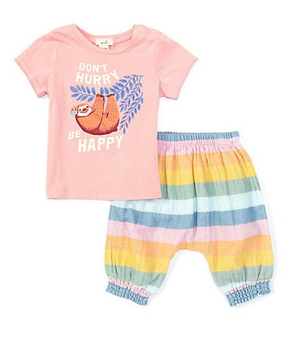 Peek Baby Girls 3-24 Months Short-Sleeve Don't Hurry Tee & Striped Shorts Set