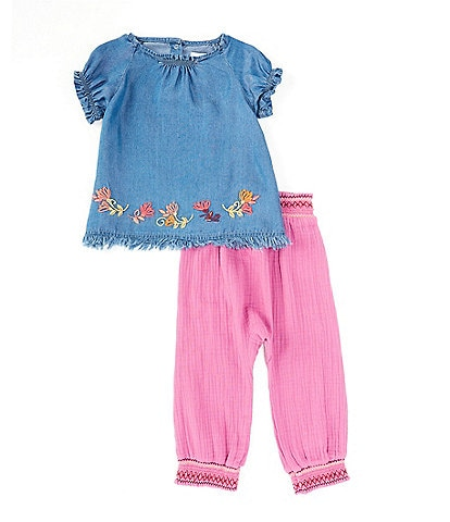 Peek Baby Girls 3-24 Months Short-Sleeve Floral-Border Top & Crinkle Gauze Pant Set
