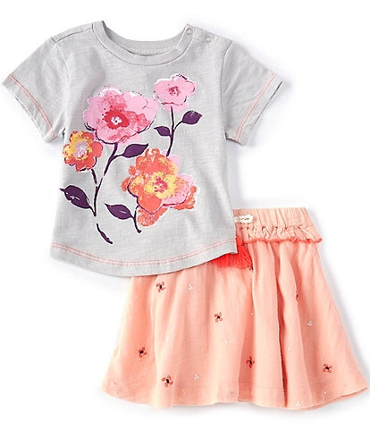 Peek Baby Girls 3-24 Months Short-Sleeve Floral Tee & Embroidered Skirt Set