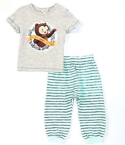 Peek Dream World x Peek Baby Boys 3-24 Months Short-Sleeve Graphic Tee & Striped Jogger Pant Set